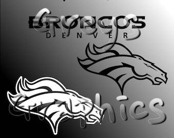 Denver Broncos Primary Logo with Logotype Single Color - SVG - DXF - EPS - Vectors