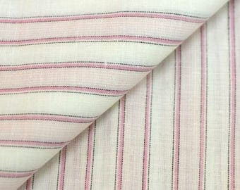 Woven linen and cotton coupon * 70 x 50 cm * pink stripes on white background