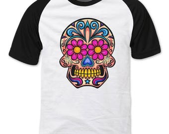 Sugar Skull, Pink and Peach Raglan sleeve T-shirt