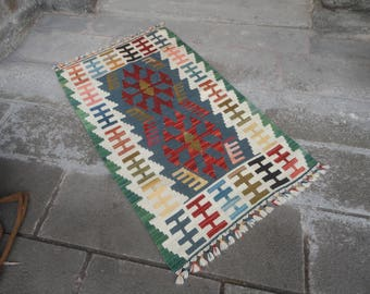 Kilim rug,FREE SHIPPING !!! hand made rug,rustic decor,Turkish vintage rug,50'' x 29'' ,interior design,home decor,flat woven rug,piless rug