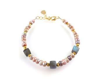 Pink Silverite and Labradorite Gemstone Beaded Bracelet, Stacking Bracelet, Boho Style Boutique Jewelry, Artisan Handcrafted Layering Piece