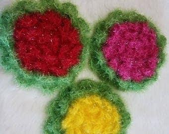 Handmade Crochet Round Flower Face and Body Exfoliator