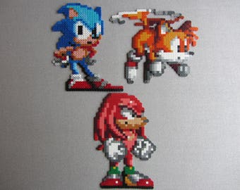 Hama Bead Pixel Creation - Sonic - Tails - Knuckles from the Sonic the Hedgehog games on the Mega Drive / Genesis