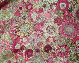 Cotton fabric liberty type flowers pink