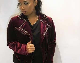 TIARA - burgandy velvet studded jacket