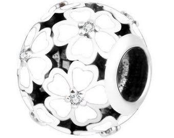 Pandora charms etsy genuine sterling silver charm cherry blossom white enamel cz bead charm fits european sciox Images