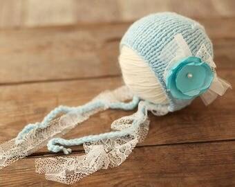 Newborn hat, Wool hat, Baby girl bonnet