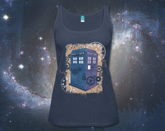 Time Travel Navy Blue tank top