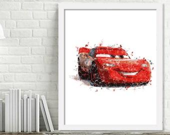 Printable Lightning McQueen Watercolor Cars Wall Art, Boy Kids Room Decor, Race Car Art, Cars Print Digital Download Picture