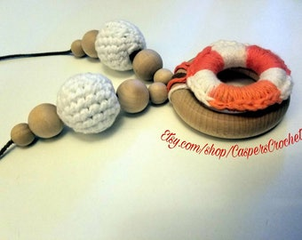 Organic Nursing Necklace, Orange and White, Nursing Necklace, Teething Necklace, Breastfeeding Necklace, Baby Wearing, Crochet Necklace