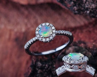 Opal Engagement Ring, Opal Halo Engagement Ring, Opal Halo Ring, Opal Vintage Engagement Ring, Opal Round Halo Engagement Ring, Opal Faceted