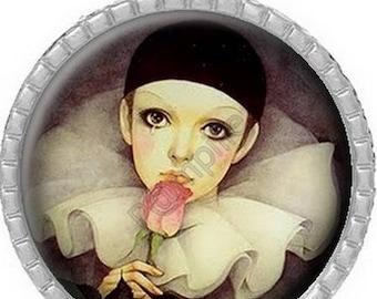 Cabochon pendant - Columbine with rose (332)