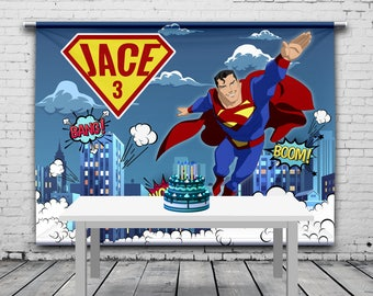 Superman Birthday Backdrop, Super Heroes Banner, Personalized Banner, Custom Theme, Photo Props, Birthday Banner, 8'x6' Vinyl Banner
