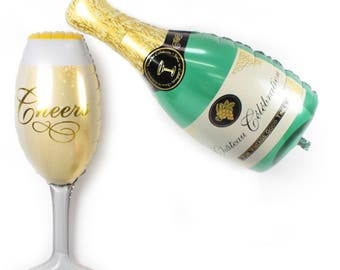 Champagne Bottle and Cup Foil Balloon - New Year Eve decoration