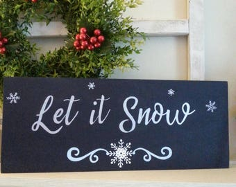 Wooden Let it Snow Midnight Blue Holidays Sign