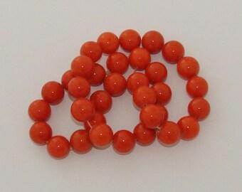 2 beads 12mm diameter orange jade
