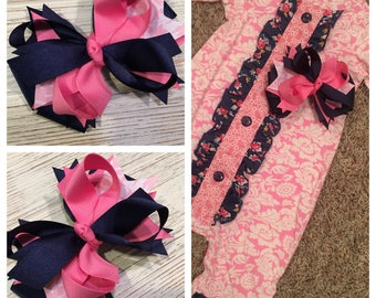 Made to match Ricrac & Ruffles hair bow, Pink and Navy hair bow, Pink and navy hairbow, pink hair bow, pink hair bow, navy hair bow,