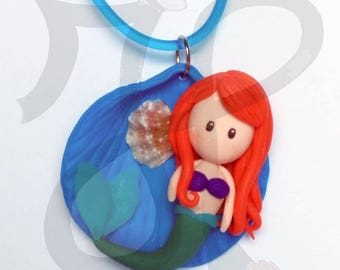 Blue Mermaid doll and shell pendant