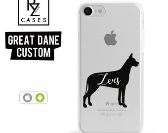Dog Phone Case, Custom Pet Name Phone Case, Great Dane Case, iPhone 7, Animal Case, Dog Lover, Gift for Her, iPhone 7 Plus, iPhone 6S Case