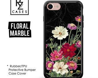 Floral Phone Case, Marble Case, iPhone 7 Case, iPhone 6s, Floral iPhone Case, iPhone 5, Gift for Her, 7 Plus, Rubber Case, Bumper