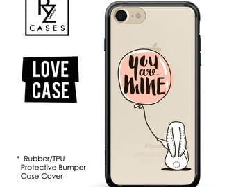 Bunny Phone Case, Rabbit Phone Case, Lover Case, iPhone 7, Balloon Case, Gift for Her, iPhone 7 Plus, iPhone 6S, Rubber, Bumper