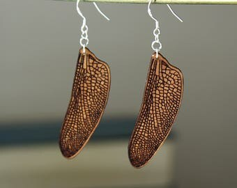 Dragonfly Wing Earrings (Pair/Wooden)