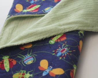 Busy Bugs Flannel Print Silky Fleece Backed Baby Blanket