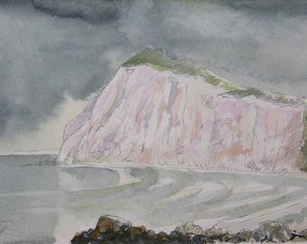 Shakespeare's Cliff, Dover - watercolour (print)