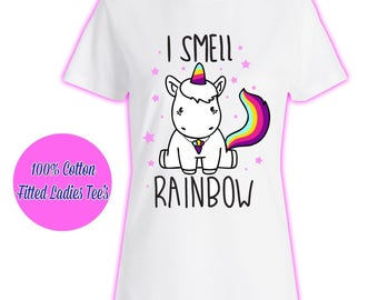 Womans Ladies Girls Tumblr Unicorn Rainbow Pink Glitter Princess Celeb Pug Kids 6 T Shirt