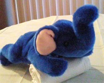 Ty Rare ROYAL BLUE PEANUT Beanie Buddy Third Generation Tush Tag,