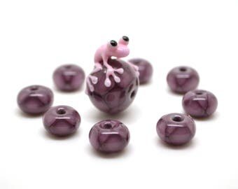 Frog beads set Lampwork frog of dark lilac