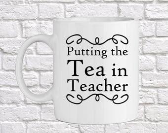 Tea in Teacher Mug, Printed Gift, Teacher Gift