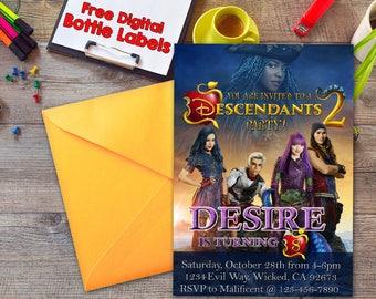Descendants 2 Birthday Invitation, Descendants 2 Party Invitation, Descendants 2 Free Water Bottle Labels, Descendants 2, Descendants