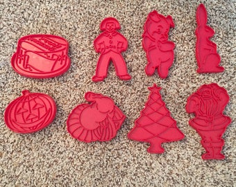 Vintage Tupperware Cookie Cutters, Red Plastic
