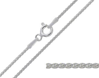 925 Sterling Silver Spiga Wheat 1mm Chain Necklace 14 16 18 20 22 24 inches