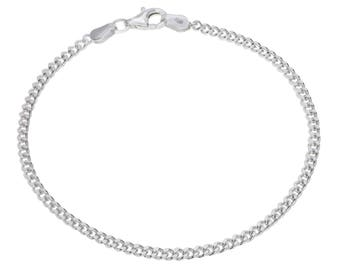 "Sterling Silver Curb Bracelet 2.4mm 6.5"" 7"" 7.5"" inches"