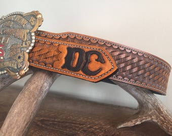 Hand tooled and stamped basketweave trophy buckle leather belt