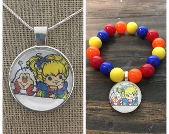 Rainbow Brite jewelry set.Rainbow Brite pendant necklace .Rainbow Brite bead bracelet.Rainbow brite party favors