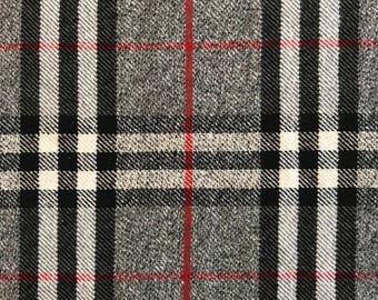 Designer plaid wool blend; jacket or coat weight