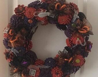 Halloween Pinecone Wreath