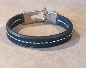 Navy blue leather bracelet
