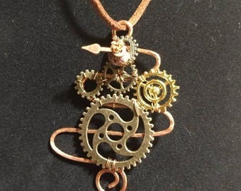 Steampunk pendant with moveable clock hand in recycled copper wire
