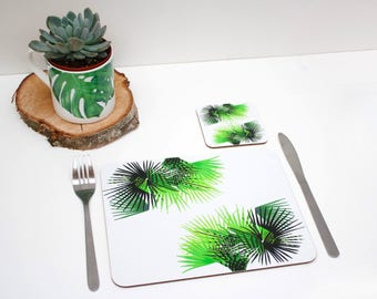 Tropical Cabbage leaf Placemat | Tabletmat set | Jungle Placemat | Table Setting | Modern Home | Flower Placemats | Place mat