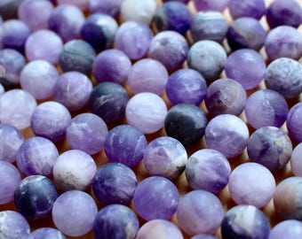 10mm Frosted Dark Chevron Amethyst, full strand, natural stone beads, round, 10008