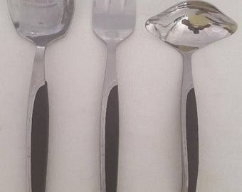 1950'S HOSTESS Serving Set, Fork, Spoon and Ladle Stainless With Nylon Handle