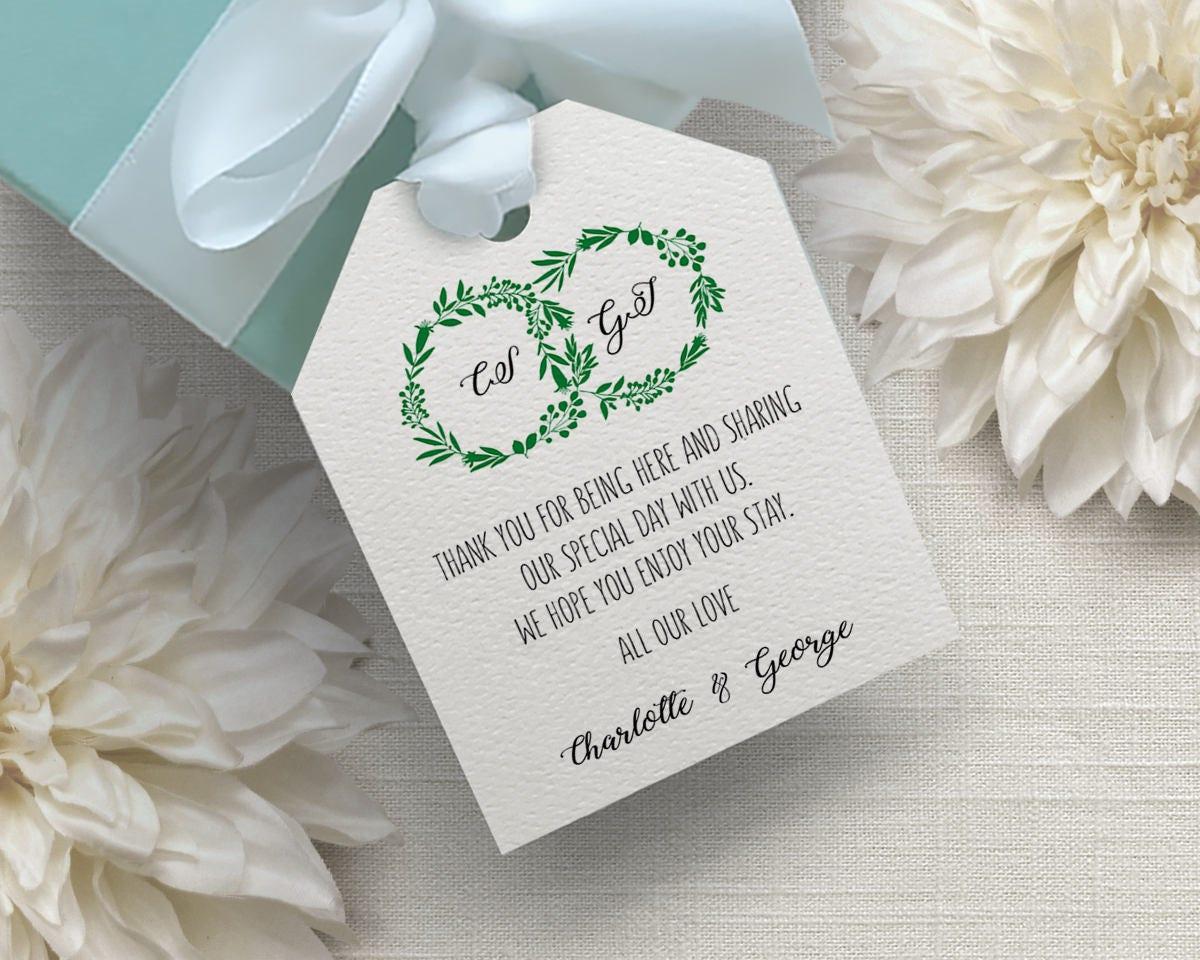 Wedding Gift Tag Template, Wedding Favor Tag Template, Favor Tags ...