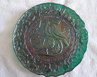 Blue Carnival Glass Plate Vintage