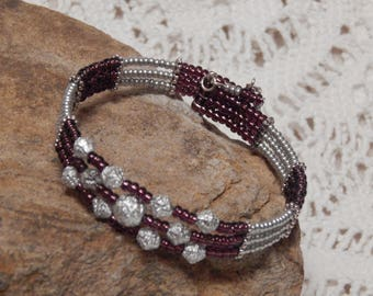 Purple and Silver Memory Wire Cuff Bracelet
