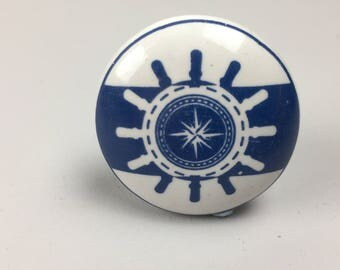 BLUE & WHITE ships wheel Helm ceramic KNOB - Home decor drawer pull