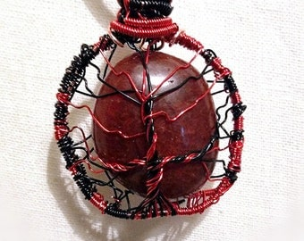Carnelian Tree of Life Pendant on Suede Chain